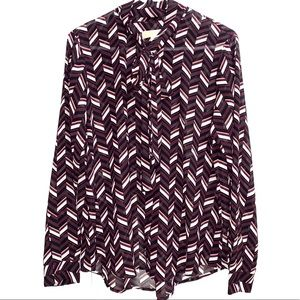 Michael Michael Kors Purple Chevron tie neck top